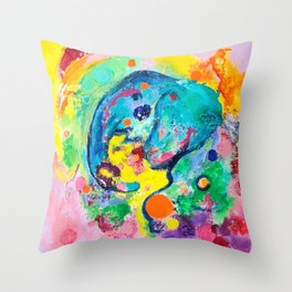 Joyful Elephant Throw Pillow