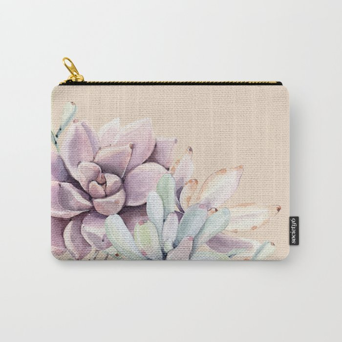 Trendy Apricot + Mint Succulents Carry-All Pouch
