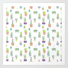 Cacti and Succulent Pattern Art Print