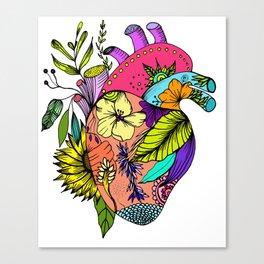 Corazón con flores Canvas Print