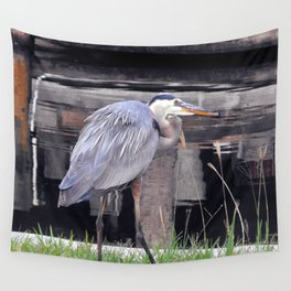 Great Blue Heron Waiting Wall Tapestry