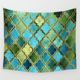 Moroccan Quatrafoil Pattern, Vintage Stained Glass, Blue, Green and Gold Wall Tapestry