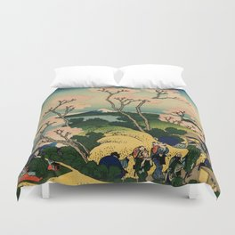 "Hokusai (1760–1849) ""Goten-yama-hill, Shinagawa on the Tōkaidō"" Duvet Cover"