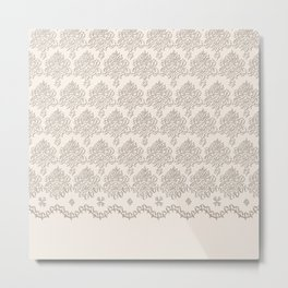 "Damask ""Cafe au Lait"" Chenille with Lacy Edge Metal Print"