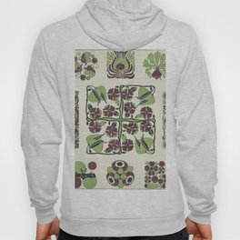 purple and green retro floral pattern Hoody