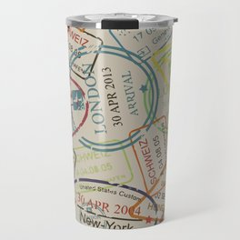 World Traveler Passport Stamp Vintage Design Travel Mug
