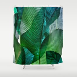 Palm leaf jungle Bali banana palm frond greens Shower Curtain