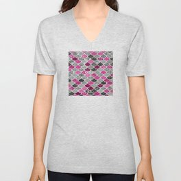 Pink, Silver and Cranberry Mermaid Scales Pattern Unisex V-Neck