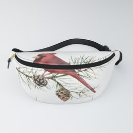 Christmas Red Cardinal Bird and Pine Watercolor Fanny Pack