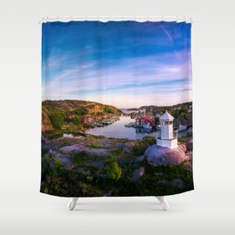 Sunset over old fishing port - Aerial Photography Shower Curtain