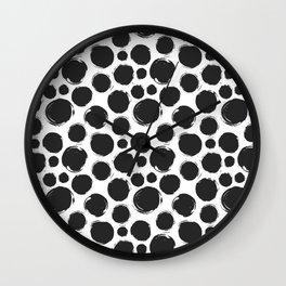 Dry brush black ink dots Wall Clock