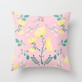 Candy Painted Spring Florals by Elizabeth Caparaz Throw Pillow