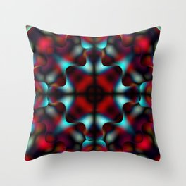 Bright pattern of blurry light blue and red flowers in a interweaving kaleidoscope. Throw Pillow