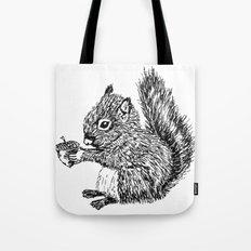 Squirrel in black & white Tote Bag