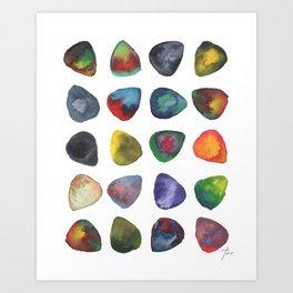 Guitar Picks Watercolor Art Print