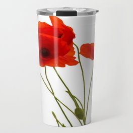 Delicate Red Poppies Vector Travel Mug