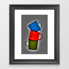Vintage green, blue, red enamel mugs in modern look Framed Art Print