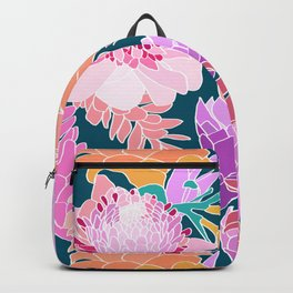 Ginger Flower in Dark Teal Green Backpack