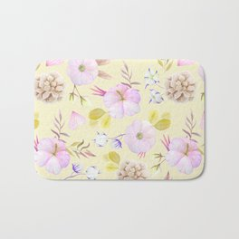 Modern hand painted pink lavender yellow watercolor floral Bath Mat