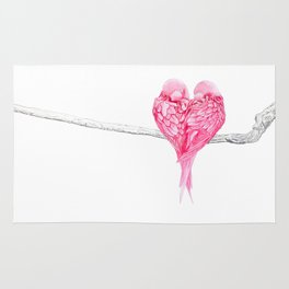 Birds Love Pink Heart Rug