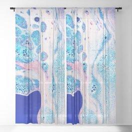 Blue Pink Liquid Foam Sheer Curtain