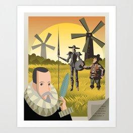 great spanish writer and old quixote knight with sidekick Art Print