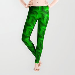 Glowing wicker pattern of green squares and rhombuses with volumetric triangles. Leggings