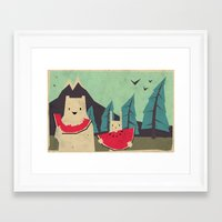 karen Framed Art Prints featuring I want moaarrr! by Yetiland