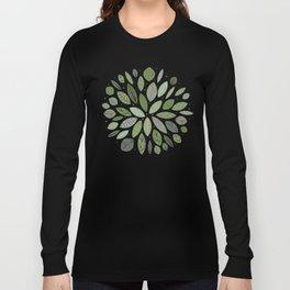 Mid-Century Green Leaves Long Sleeve T-shirt