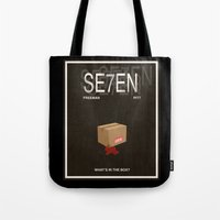 movie poster Tote Bags featuring Seven Movie Poster by Finlay McNevin