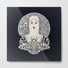 Girl with the moth Metal Print