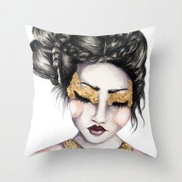 Golden Eyes // Fashion Illustration Throw Pillow