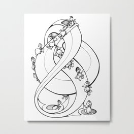 Perpetual Turtles - Doodle art of Turtles slipping down a perpetual sculpture Metal Print