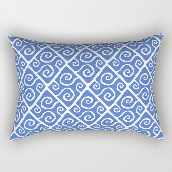 Mid Century Modern Diamond Swirl Pattern Blue by tonymagner