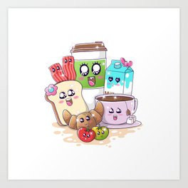 Kawaii Breakfast Art Print