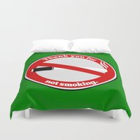 smoking Duvet Covers featuring No Smoking by mailboxdisco