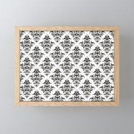 Damask Pattern | Black and White Framed Mini Art Print