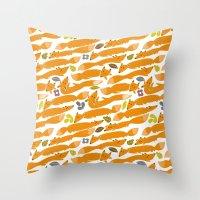 kitsune Throw Pillows featuring Kitsune by Mamoizelle