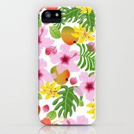Tropical hibiscus and mango pattern iPhone Case