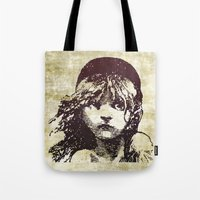 les miserables Tote Bags featuring Les Miserables Girl by Pop Atelier