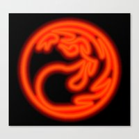 magic the gathering Canvas Prints featuring Magic the Gathering, Neon Red Mana by Thorn Blackstar