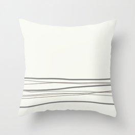 Metropolitan Light Gray, Cinder Dark Gray, Mustang Brown 2111-30 Scribble Lines Snowfall White Throw Pillow