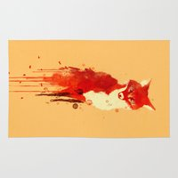 watercolor Area & Throw Rugs featuring The fox, the forest spirit by Picomodi
