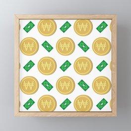 Korean won pattern background Framed Mini Art Print