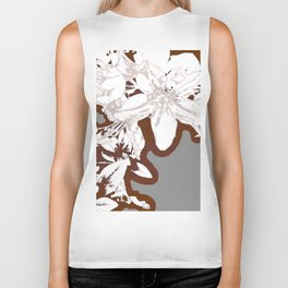 White And Gray Lilies Biker Tank