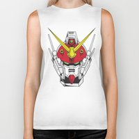 gundam Biker Tanks featuring Heavyarms Gundam Wing by Andrew Huckleberry