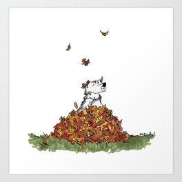 Saunders in Leaves Art Print