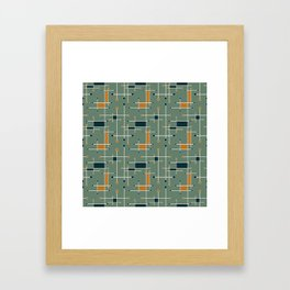 Intersecting Lines in Olive, Blue-green and Orange Framed Art Print
