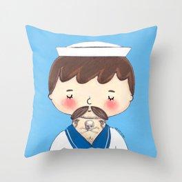 Tattooed Sleepy Sailor  Throw Pillow
