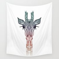 kevin russ Wall Tapestries featuring GiRAFFE by Monika Strigel